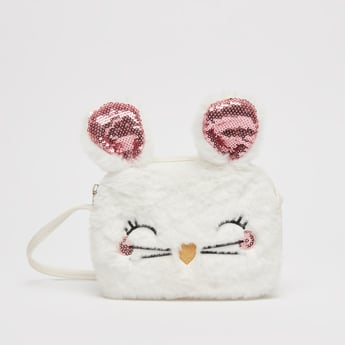 Plush Crossbody Bag with Strap and Applique Detail
