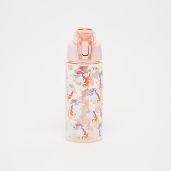 Unicorn Print Water Bottle with Spout and Wristlet - 550 ml