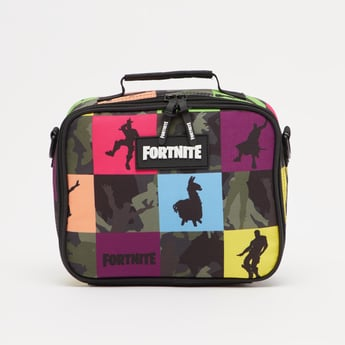 Fortnite Print Lunch Bag with Zip Closure and Strap