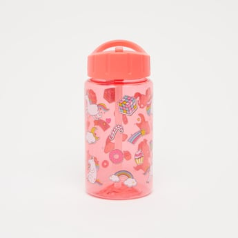Unicorn Print Water Bottle with Flip Spout - 430 ml