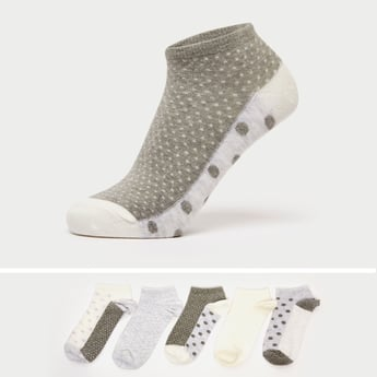 Pack of 5 - Printed Ankle-Length Socks with Cuffed Hem