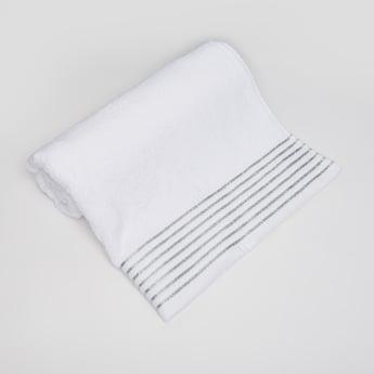 Textured Bath Towel with Glitter Stripes - 140x70 cms