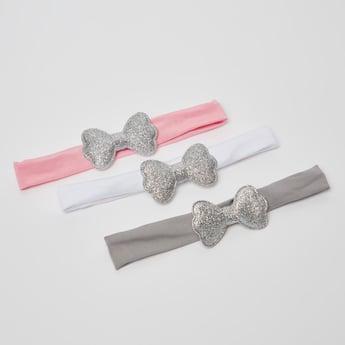 ربطة شعر سادة بزخارف فيونكة -طقم من 3 قطع