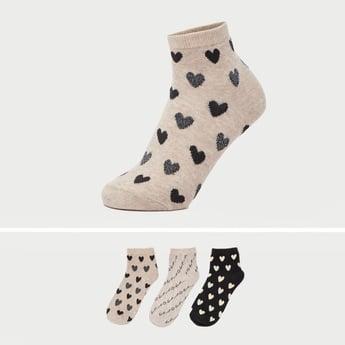 Set of 3 - Printed Ankle Length Socks