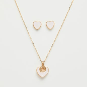 Embellished Heart Pendant Necklace and Earrings Set