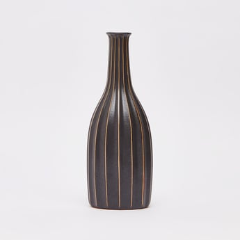 Stripe Detail Decorative Vase - 30x12 cms