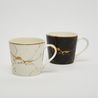 Set of 2 - Abstract Print Mug with Curved Handle