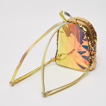 Sequin Embellished Backpack with Shoulder Straps and Zip Closure