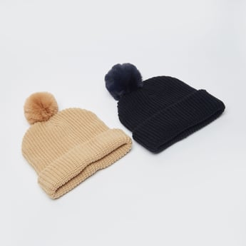 Set of 2 - Beanie Caps with Pom Pom