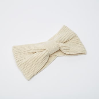 Textured Woolen Hairband with Front Knot Detail