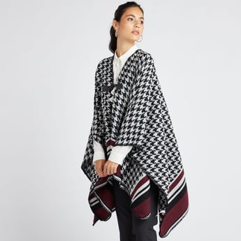 Houndstooth V-neck Shrug with Toggle Button Closure