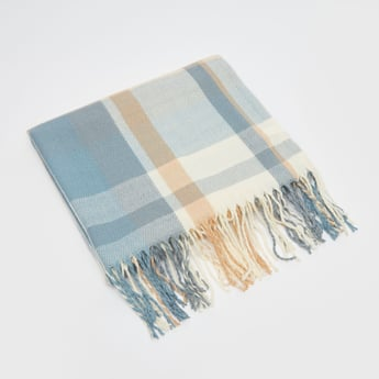 Check Print Scarf with Fringes