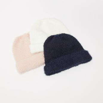 Set of 3 - Textured Beanie Cap with Cuffed Hem