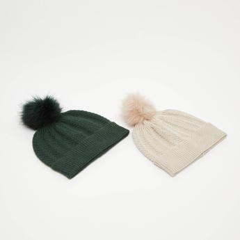 Set of 2 - Textured Beanie Caps with Pom Poms