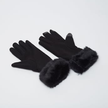 Textured Knitted Gloves with Fur Detail Wrist
