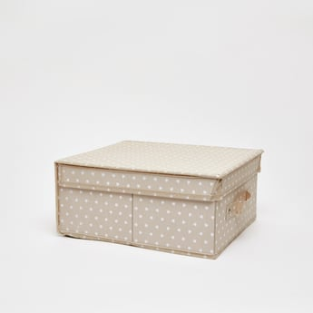 صندوق تخزين مستطيلي بمقبض وطبعات قلب - 28x33x15 سم