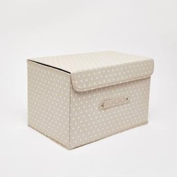 صندوق تخزين بطبعات قلب وغطاء - 38x25x25 سم