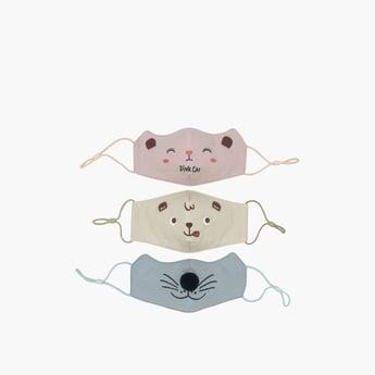 قناع وجه قابل لإعادة الاستخدام بطبعات حيوانات طقم من 3 قطع