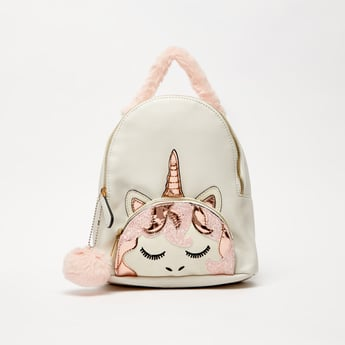 Applique Detailed Zipper Backpack with Adjustable Shoulder Straps