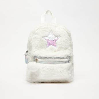 Plush Backpack with Sequin Embellished Star Applique
