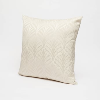 Leaf Print Filled Cushion with Zip Closure - 43x43 cms