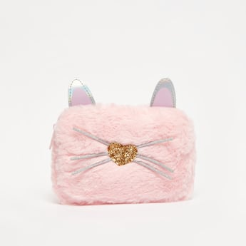 Plush Pencil Case with Kitty Appliques and Embellishments