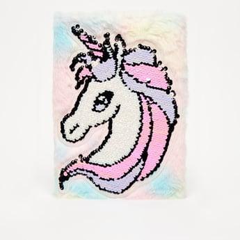 Plush Notebook with Unicorn Applique Detail