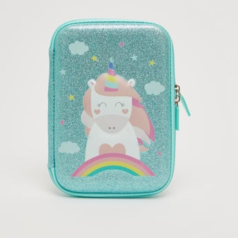 Unicorn Print Embellished Pencil Case with Zip Closure