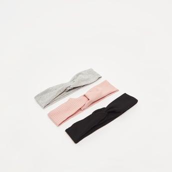 ربطة شعر قماشية مضلعة بتفاصيل عقدة ملتوية - طقم من 3 قطع