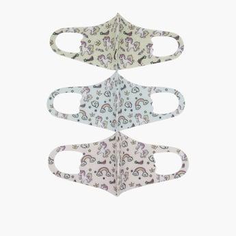 ماسك قابل لإعادة الاستخدام مضاد للأتربة بطبعات يونيكورن-  طقم من 3 قطع