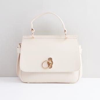 Textured Satchel Bag with Top Handle
