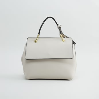 Plain Handbag with Button Closure and Detachable Shoulder Strap