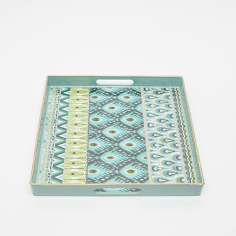 Printed Serving Tray with Cutout Handles- 34.5x34.5x4 cms