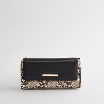 Printed Wallet with Flap and Zip Closure