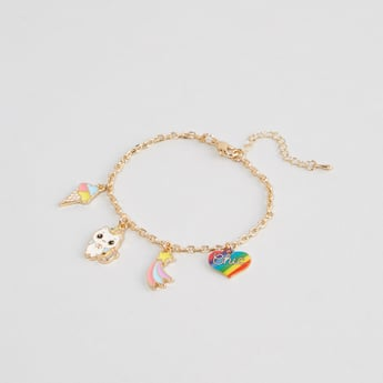 Metallic Bracelet with Charms and Lobster Clasp
