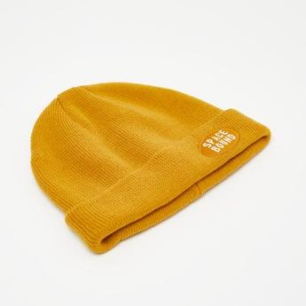 Textured Beanie Cap with Applique