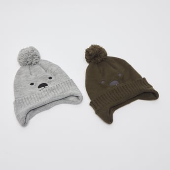 قبعة بيني مزيّنة بارزة الملمس بأطراف مطّاطيّة وتفاصيل بوم بوم - طقم من قطعتين