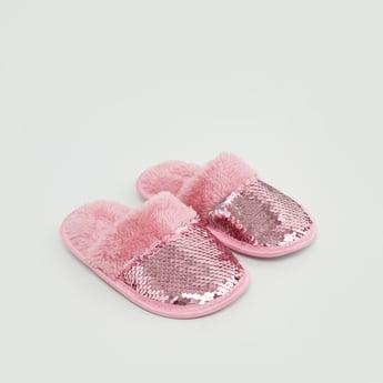 حذاء خفيف مخملي لغرفة النوم بتفاصيل ترتر