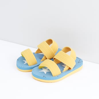 Textured Flip Flops with Sling Back Closure