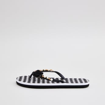 Printed Slippers with Floral Applique and Pearl Embellishments
