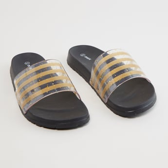 Striped Slides with Glitter Accent