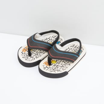 Printed Sandals with Elasticised Backstraps