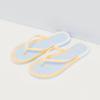 Polka Dot Print Slippers with Toe-Straps