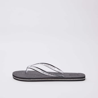 Textured Flip Flops with Printed Straps
