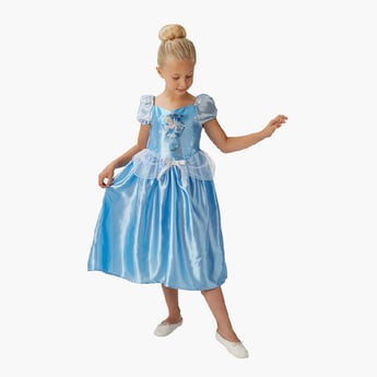 Cinderella Costume Dress with Puff Sleeves and Peplum Detail