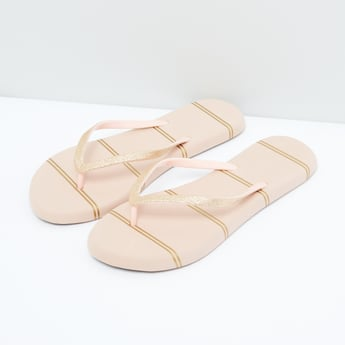 Striped Flip Flops with Glitter Detail Straps