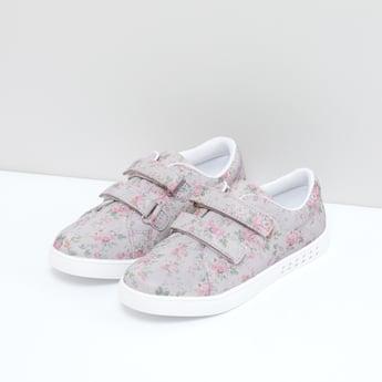 Floral Printed Shoes with Hook and Loop Closure