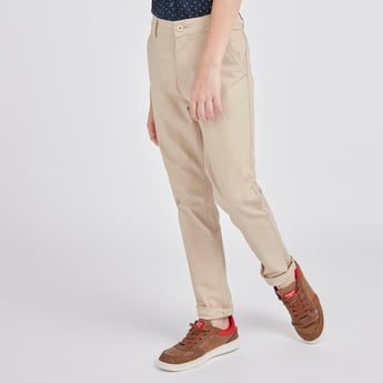 Solid Full Length Pants with Pocket Detail