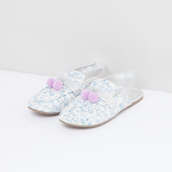 Printed Sandals with Pom-Pom Detail