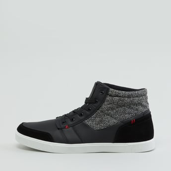 Textured High Top Shoes with Lace-Up Closure